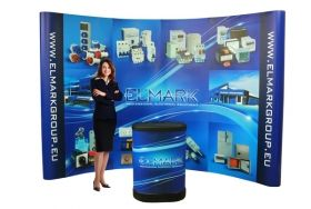 POP UP stand, curved, with print