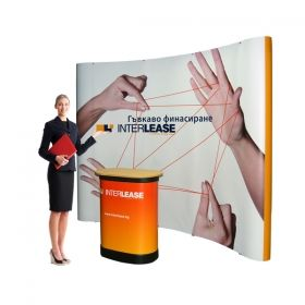 POP UP stand 3x3, curved, with print