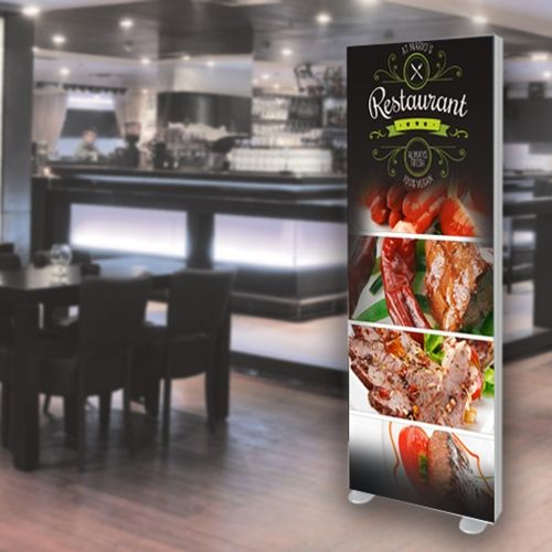 LED Illuminated textile frame, freestanding
